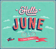 Hello june typographic design. stock illustration