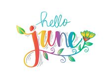 Hello Juni stock illustratie