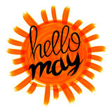 Hello kan vector met uitstekende zonnestraal en hand getrokken van letters voorziende oranje zon kaarden royalty-vrije illustratie