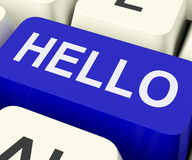 Hello Key Shows Online Greeting Or Welcome Stock Photography