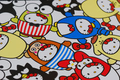 Hello kitty design prints. A photo taken on some Hello Kitty design prints on paper Royalty Free Stock Photo