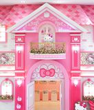Hello Kitty giant plush doll is inside her pink palace in Hello Kitty in Jeju stock image