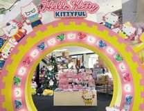 Hello Kitty Kittyful store in Central World mall, Bangkok. BANGKOK - DECEMBER 2017: Hello Kitty Kittyful store located in the Central World mall. Hello Kitty is Royalty Free Stock Photos