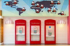 Hello Kitty Phone Booths At Taoyuan Airport Royalty Free Stock Photography