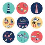 Hello-kleurrijke de cirkelpictogrammen van de de Zomerkrabbel Royalty-vrije Stock Foto's
