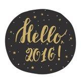 Hello 2016! Kort för nytt år med hand dragen bokstäver vektor illustrationer