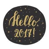 Hello 2017! Kort för nytt år med hand dragen bokstäver stock illustrationer