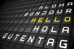Hello in languages on black mechanical board Royalty Free Stock Photos