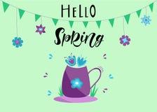 HELLO-lente-Hand het van letters voorzien Kleurrijke illustratie royalty-vrije stock afbeeldingen