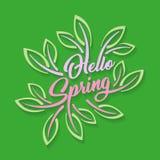 Hello-lente stileerde kalligrafische die inschrijving met bladeren op een groene achtergrond wordt versierd De lentemalplaatje vo Stock Afbeelding