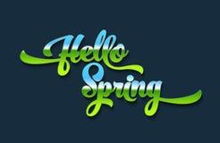 Hello-lente stileerde kalligrafische inschrijving op een blauwe achtergrond De lentemalplaatje voor uw ontwerp, kaarten, uitnodig Stock Afbeelding