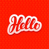 Hello lettering. Design for greeting card, banner. Vector illustration Royalty Free Stock Images