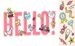 Hello lettering with girly doodles and hand drawn phrases for valentines day card design, girl`s t-shirt print. Hand drawn hello slogan royalty free illustration