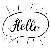 Hello lettering. Handwritten brush calligraphy. Hello text in a speech bubble. Vector isolated illustration on a white. Stock Photography