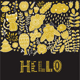 Hello lettering illustration card, cure childish design: flower doodles, cat and owl. Royalty Free Stock Images