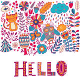 Hello lettering illustration card, cure childish design: flower doodles, cat and owl Royalty Free Stock Photos