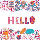 Hello lettering illustration card, cure childish design: flower doodles, cat and owl Royalty Free Stock Images