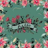 Hello lettering with ribbon hand drawn spring flowers and round floral frame background. Decorative floral frame. Pink flowers. Ro Stock Photos
