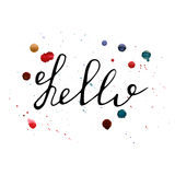 Hello lettering with watercolor splashes. Handwritten vector Illustration Royalty Free Stock Images