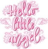 Hello liten ängel som märker i den rosa inskriften som isoleras på vit bakgrund vektor illustrationer