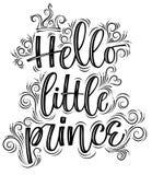 Hello liten prins Hand dragen idérik kalligrafi royaltyfri illustrationer