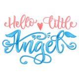 Hello Little Angel quote. Baby shower hand drawn calligraphy script, grotesque stile lettering phrase royalty free stock photo