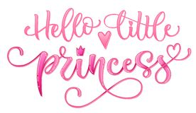 Hello little princess quote. Hand drawn modern calligraphy baby shower lettering logo phrase royalty free illustration