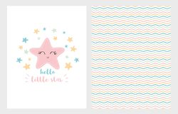 Hello Little Star Vector Illustration Set. Hand Drawn Design. Smiling Pink Star. Baby Shower. stock illustration