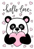Hello love. Hand drawn creative calligraphy and brush pen lettering. Cute Panda holds big heart. design for holiday greeting card. And invitation wedding Royalty Free Stock Images