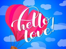 Hello love lettering. Vector illustration stock illustration