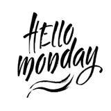 Hello-Maandagkalligrafie met de hand geschreven op een achtergrond Hand geschreven typografieaffiche Vector illustratie Royalty-vrije Stock Afbeeldingen