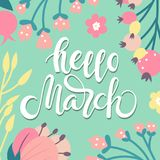 Hello March - background. Spring background with hand written text - Hello March decorated with flowers in pastel color. Vector illustration vector illustration