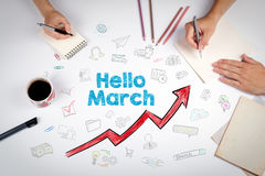 Hello March, Business Concept. The meeting at the white office table Stock Photography