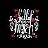 Hello March Card. Hand drawn lettering Royalty Free Stock Images