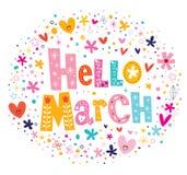 Hello March. Decorative type lettering design stock illustration