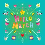 Hello March greeting card. Hello March beautiful greeting card Royalty Free Stock Images