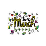 Hello March greeting card Stock Images