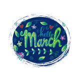 Hello March greeting card Stock Photography