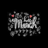 Hello March greeting card Royalty Free Stock Images
