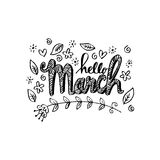 Hello March greeting card Stock Photo
