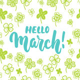 Hello,March - hand drawn lettering phrase for first month of spring isolated on the white background with clover leaf. Fun brush i. Nk inscription for photo Royalty Free Stock Photos