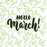 Hello,March - hand drawn lettering phrase for first month of spring isolated on the white background with green floral brunches. F. Un brush ink inscription for Stock Photos