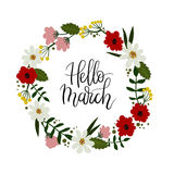 Hello March hand lettering greeting card. Floral wreath Royalty Free Stock Photo