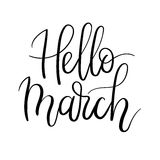 Hello March Hand Lettering Inscription. Spring Greeting Card. Brush Calligraphy. Royalty Free Stock Image