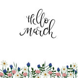 Hello March hand lettering inscription. Spring greeting card. Floral frame. Stock Photography