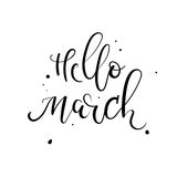 Hello March hand lettering inscription. Spring greeting card. Modern calligraphy. Royalty Free Stock Photo