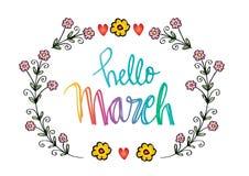Hello March lettering stock illustration. Illustration of ...