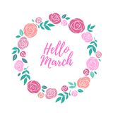 Hello march inspirational illustration. Spring background. Hello march inspirational illustration. Spring background with roses flowers Royalty Free Stock Image