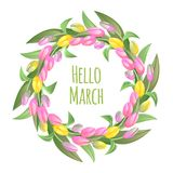 Hello march inspirational illustration. Spring background. Hello march inspirational illustration. Spring background with tulips flowers round frame Stock Images