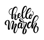 Hello march lettering card with snowlakes. Hand drawn inspiratio Stock Photography